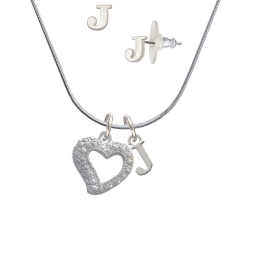 Textured Open Heart - J Initial Charm Necklace and Stud Earrings Jewelry Set