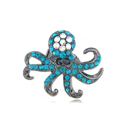 Capri Deep Blue Crystal Rhinestone Gun Metal Base Custom Fashion Octopus Ring - Octopus Ring