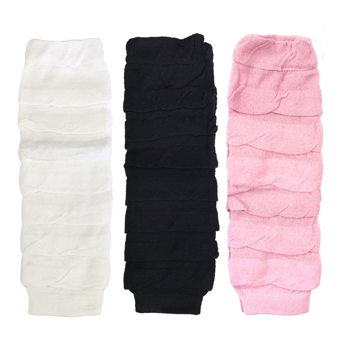 Wrapables®  Little Girls 3 Pair Layered Ruffles Leg Warmers, White, Black, Pink