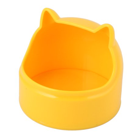 Pet Rabbit Guinea-Pig Dragon Cat Plastic Cat Ears Shaped Food Bowl Feeder Yellow