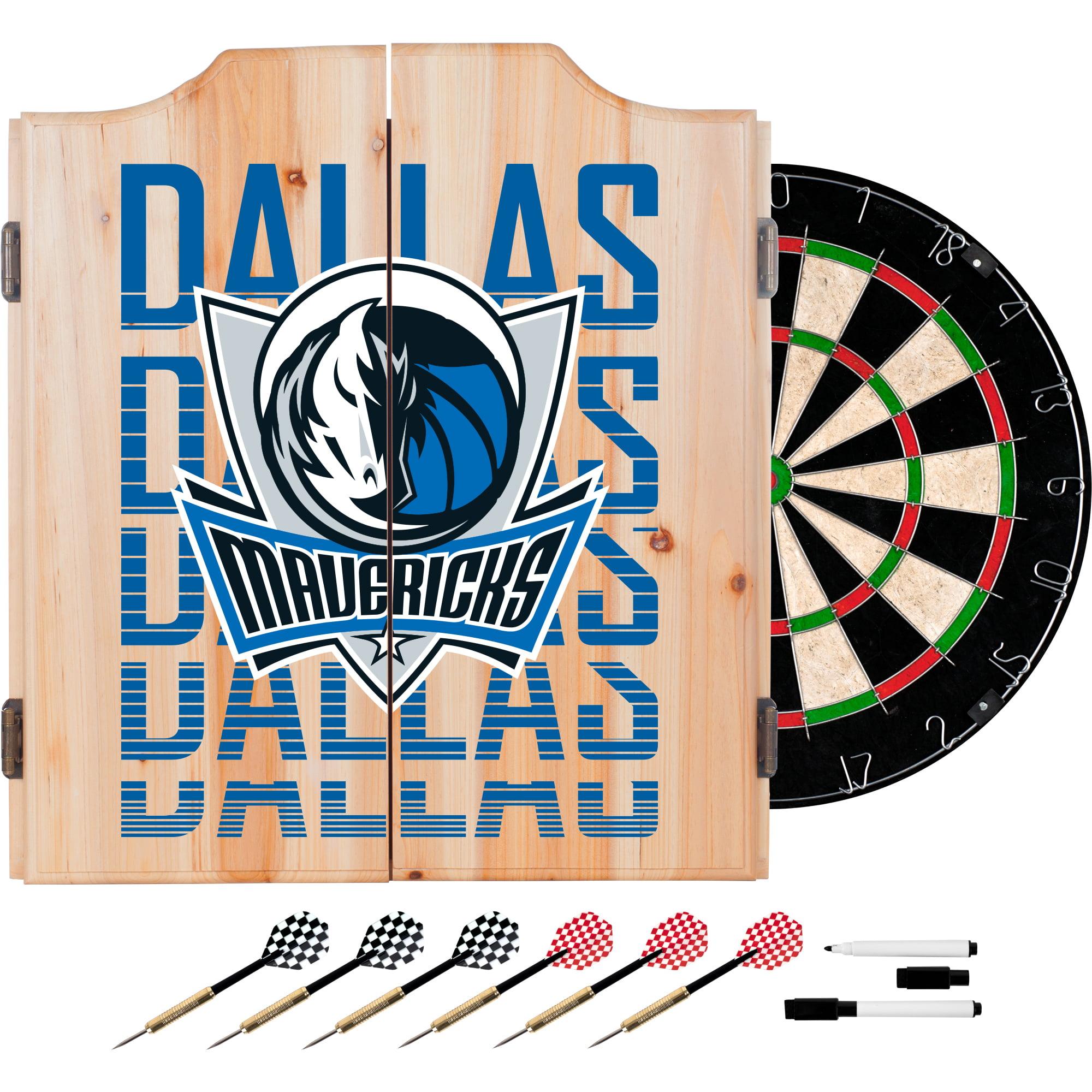 NBA Dart Cabinet Set with Darts and Board - City - Dallas Mavericks