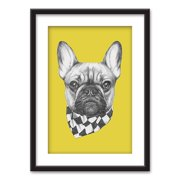 wall26 - Framed Wall Art - Hand Drawn Dog Yellow Background - Black Picture Frames White Matting - 23x31 inches