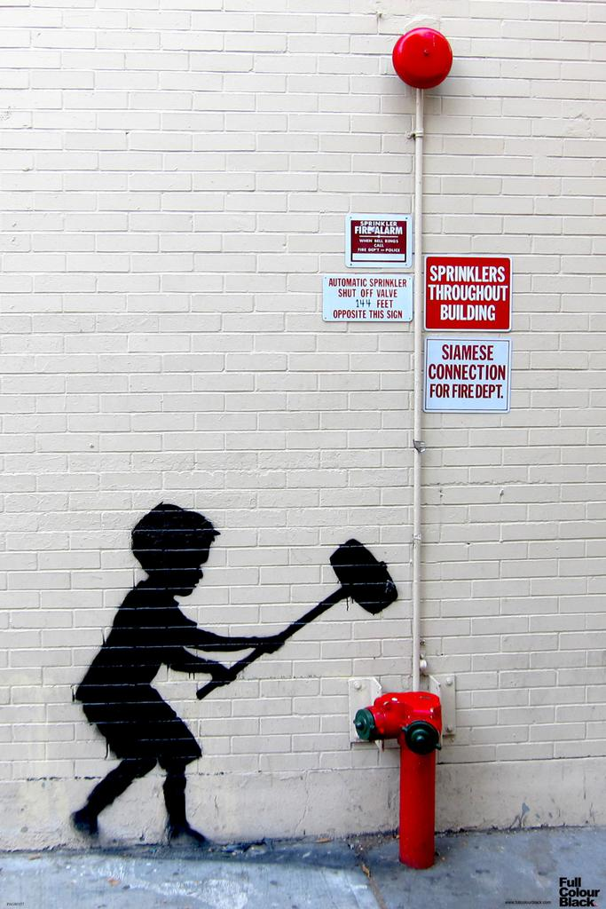 Banksy Hammer Boy Graffiti Stencil Street Art Urban Spray Paint Artist Poster 12x18 by