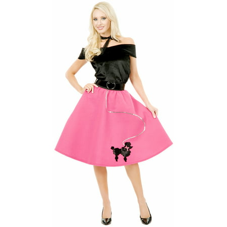 Women's Large 11-13  Pink Poodle Skirt 50s Sock Hop Costume (50 S Costumes)