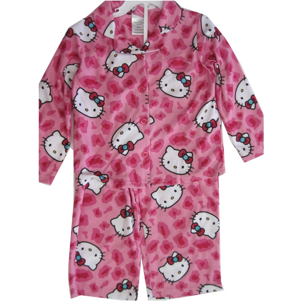 Hello Kitty Little Girls Fuchsia Kitty Spotted Print 2 Pc Pajama Set 4-6
