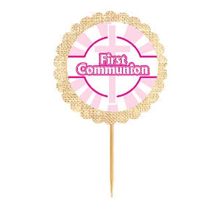 First Communion Pink Rustic Burlap Cupcake Decoration Topper Food Picks - First Communion Cupcakes