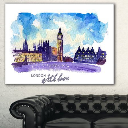 DESIGN ART London Purple Illustration' Cityscape Painting Canvas Print (Cityscape Art Painting)