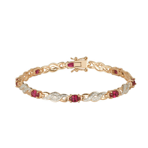 """Created Ruby Gold over Sterling Silver Bracelet, 7.25"""""""