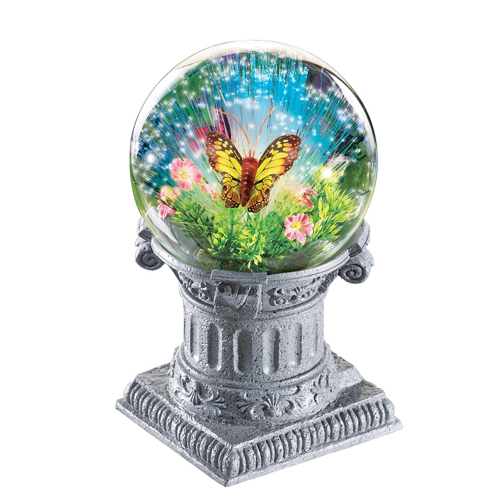 Fiber Optic Butterfly Gazing Ball With Solar Lights by Collections Etc