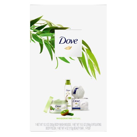 Dove 4-pc Invigorating Ritual Holiday Gift Set (Shower Mousse, Body Polish, Beauty Bar with Bonus Pouf)
