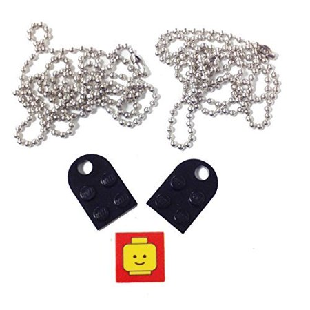 "Lego Parts: Valentine Heart Necklace/Keychain Bundle Kit (2) Black Modified 3 x 2 Plates with Hole (1) Decorative Tile (2) 24"" Nickel Plated Ball Chains"