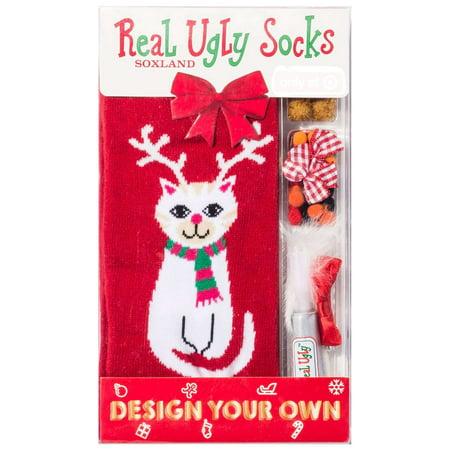 Real Ugly Socks Cat Reindeer Design Your Own Ugly Socks [Ladies 9- 11 / Mens 10-13]