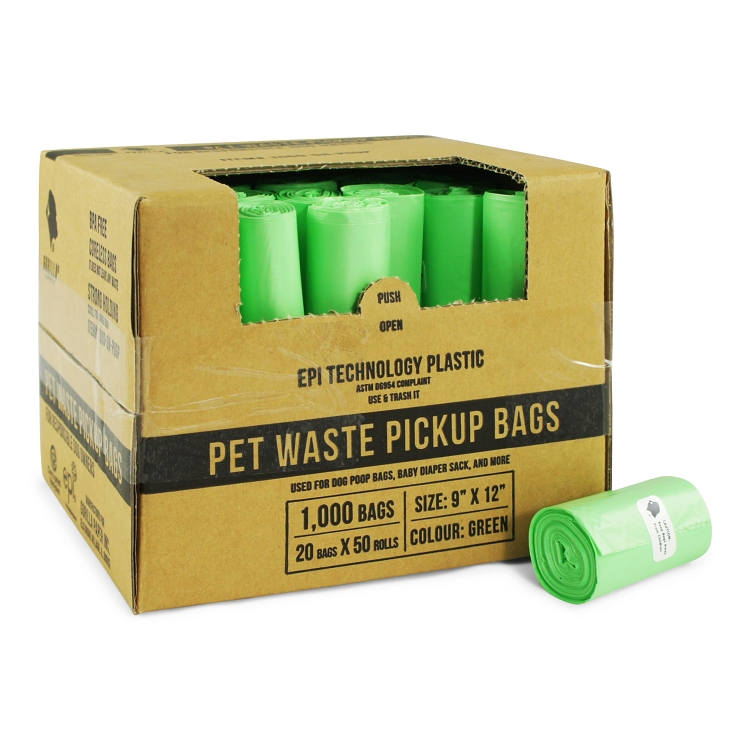 Gorilla Supply 1000 Black Dog Pet Poop Bags, EPI Technology, 50 Refill Rolls