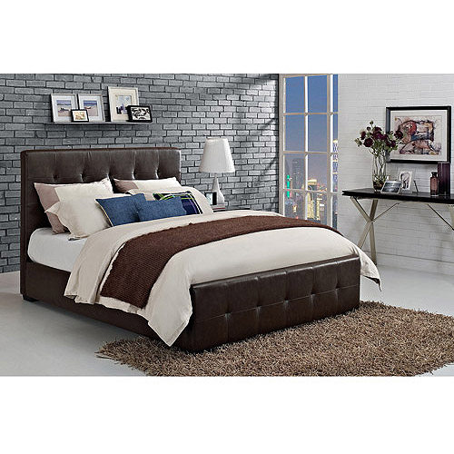 Florence Queen Tufted Faux Leather Upholstered Bed with Headboard, Brown
