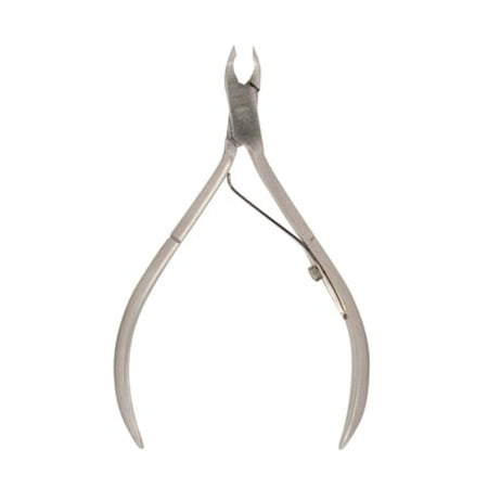 "4"" French Style Cuticle Nipper, Features a thin blade that allows for a smooth precise cut, single spring, quarter jaw and satin finish By Satin Edge"