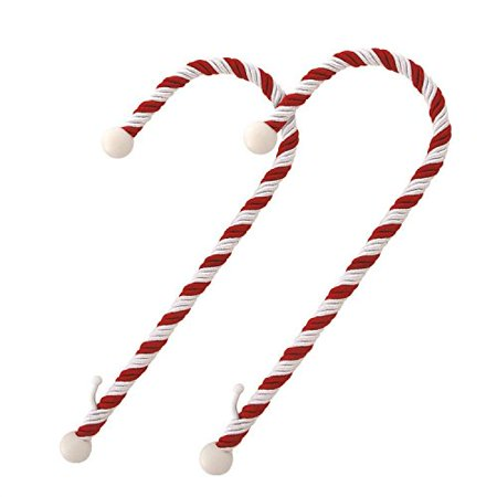 Haute Decor Candy Cane Stocking Holder, 2-pack, Classic Red and White