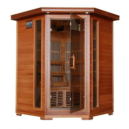 Hudson Bay-Cedar 3 Person FAR Infrared Sauna With Carbon Heaters-Corner Unit Cedar Barrel Sauna
