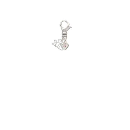 Silvertone Mini Light Pink Crystal Heart - 2019 Clip on Charm