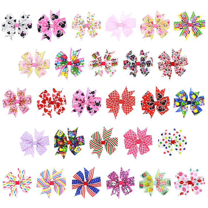 28Pcs Hair Clips, Coxeer Handmade Printed Bow Tie Stylish Hair Barrettes Hair Pins Hair Accessories for Baby Girls Kids Teens Toddlers Children