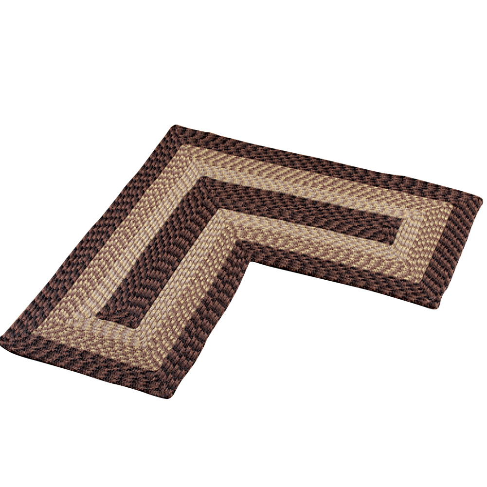L-shaped Corner Kitchen Laundry Bath Braided Rug, Chocolate by Collections Etc