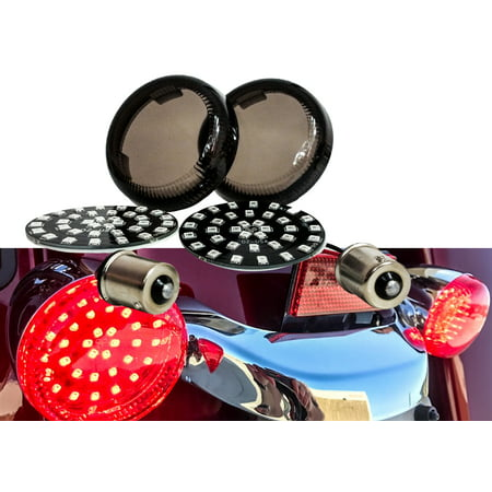 Black Out Red LED 1156 Bulb Rear Turn Signal Light Single Filament Insert Harley Bullet FL FX XL Smoke Lens touring dyna softail sportster street road electra glide