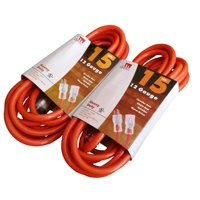 2 Pack 15-Ft 12 Gauge Extension Cord Indoor/Outdoor Lit Ends UL Orange
