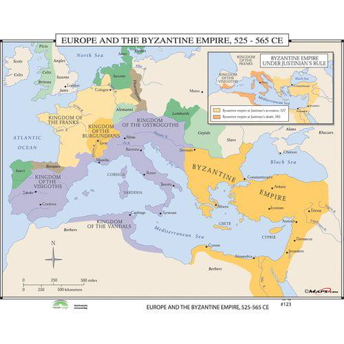 Universal Map World History Wall Maps - Europe & Byzantine Empire