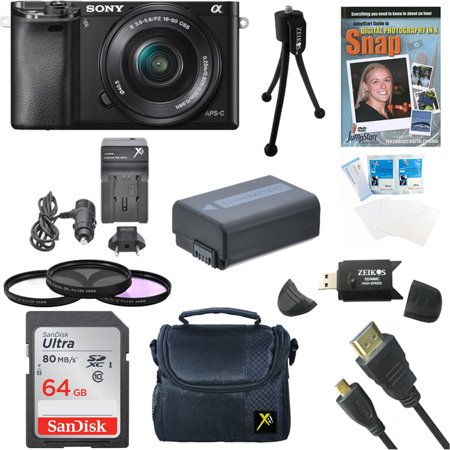 Sony a6000 ILCE6000LB 24 3 Interchangeable Lens Camera with 16-50mm Power  Zoom Lens BUNDLE with 64GB Class 10 Card, Spare Battery, Deluxe Padded  Case,