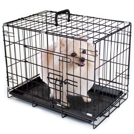 Brybelly 18quot extra small folding metal pet crate with for Dog kennel liner