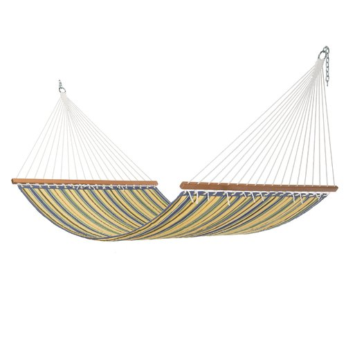 Highland Dunes Rosamond Large Blue and Yellow Stripe Quilted Hammock