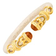 Carnelian & White Topaz Rope Scroll Tan Stingray Cuff Bracelet in 18kt Gold-Plated Sterling Silver