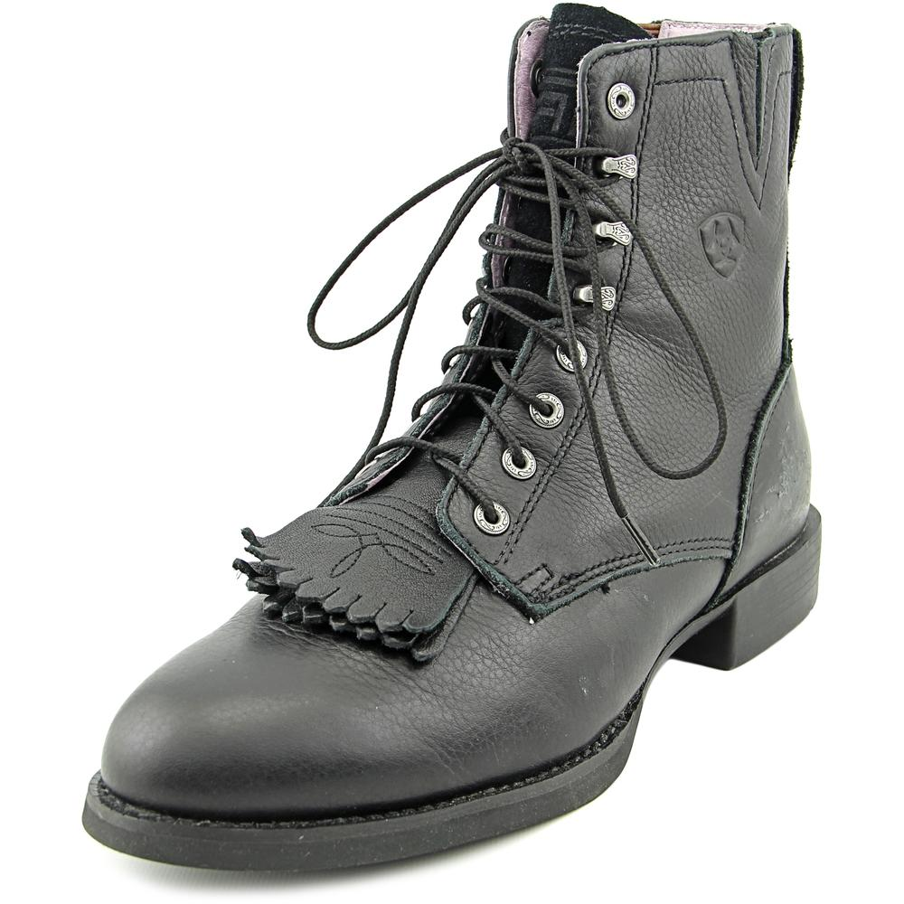 Ariat Heritage Lacer II Women Round Toe Leather Black Ankle Boot by Ariat