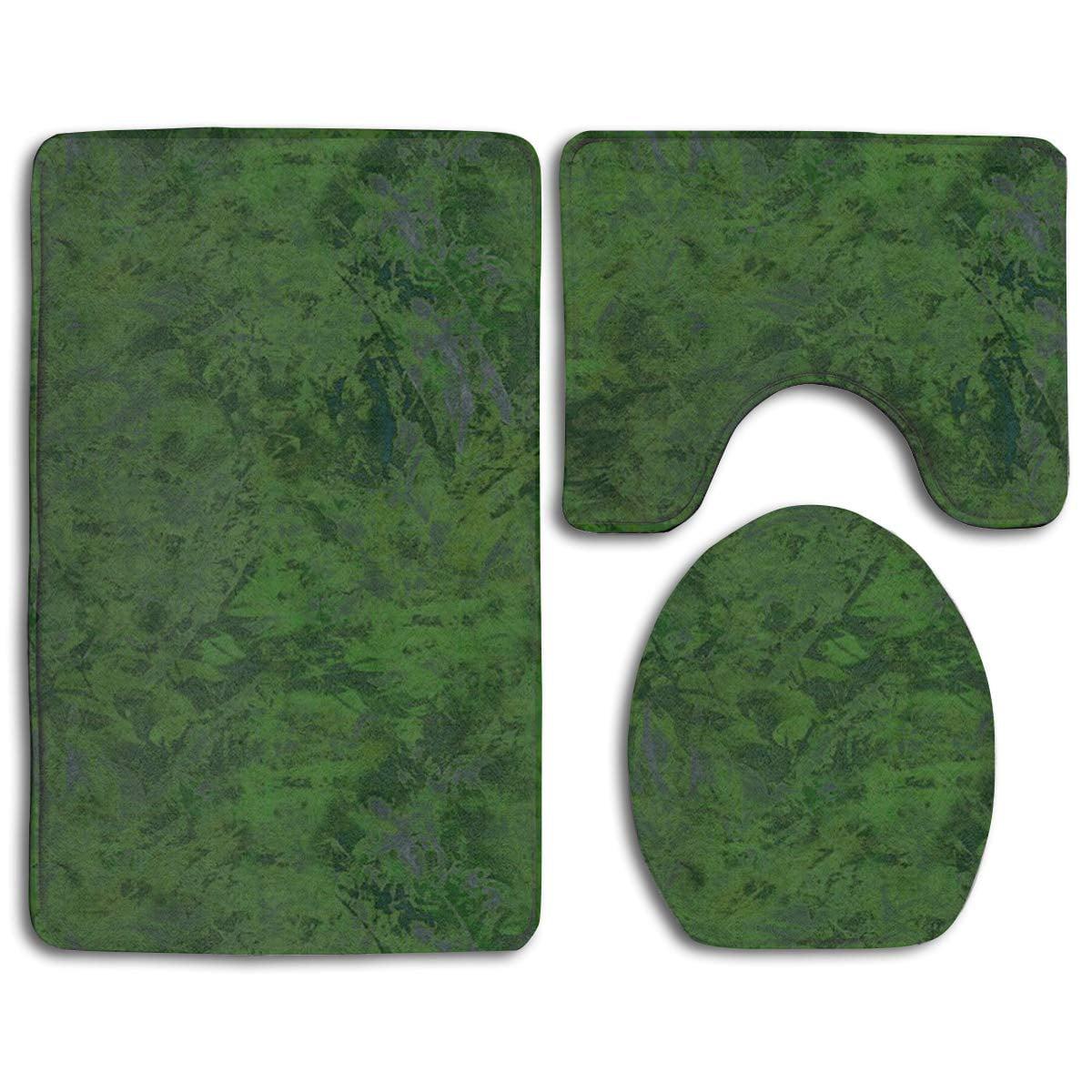 Gohao Dark Green Splash 3 Piece, Bathroom Contour Rug