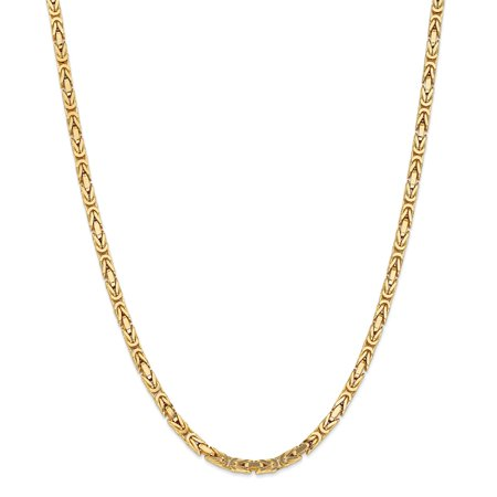 Solid 14k Yellow Gold Big Heavy 4mm Byzantine Chain Necklace 18