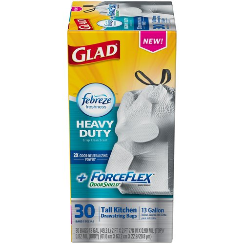 Glad ForceFlex OdorShield + Febreze Freshness Heavy Duty 13 Gallon Tall Kitchen Drawstring Bags, 30 count