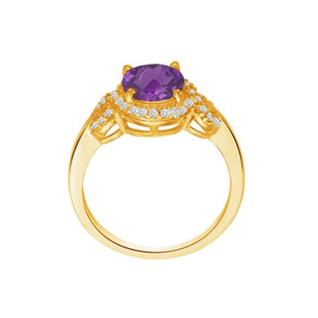 Oval Amethyst and CZ Criss Cross Ring in Gold Vermeil - image 5 of 5