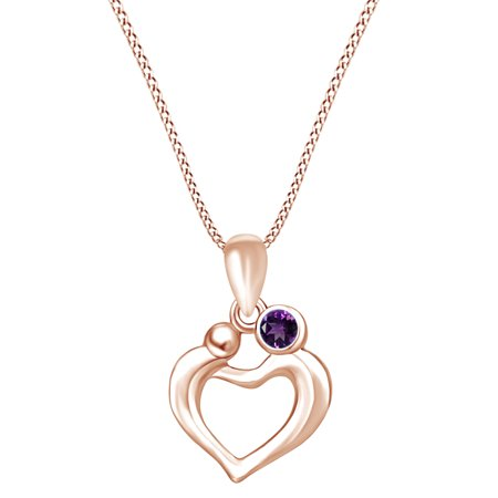 Mother's Day Jewelry Gifts Round Simulated Amethyst Mom and Children Love Heart Pendant Necklace In 14k Rose Gold Over Sterling Silver - Mothers Day Kids Crafts