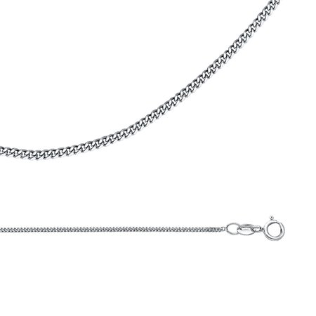 (Cuban Chain Solid 14k White Gold Necklace Curved Links Polished Curb Style Light, 1.1 mm - 16,18,20,22 inch)