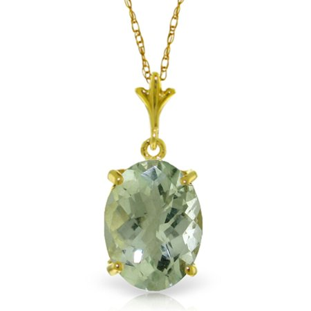 ALARRI 3.2 Carat 14K Solid Gold Distant Places Green Amethyst Necklace with 24 Inch Chain (Best Place To Put Amethyst)