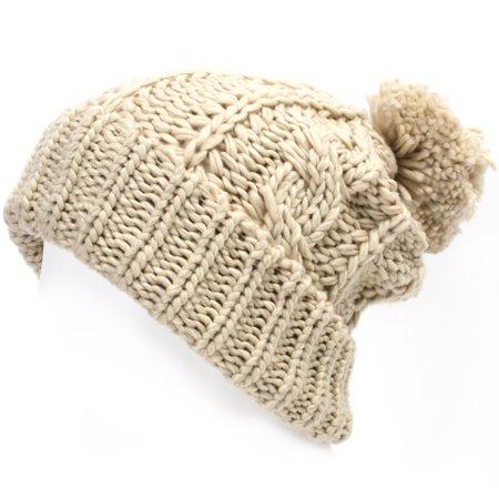 4cf4cc8b663 ililily Solid Color Rigsby Pompom Beanie Skull Cap Long Fold Knit Slouchy  Beanie