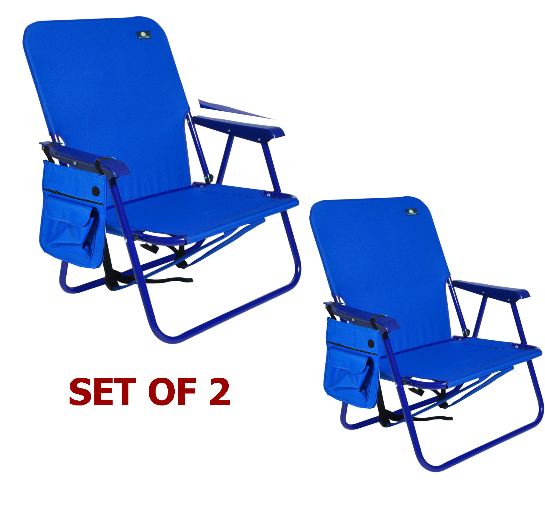 Steel Backpack Beach Chair and Camping Sports Chair - Set of 2 Chairs