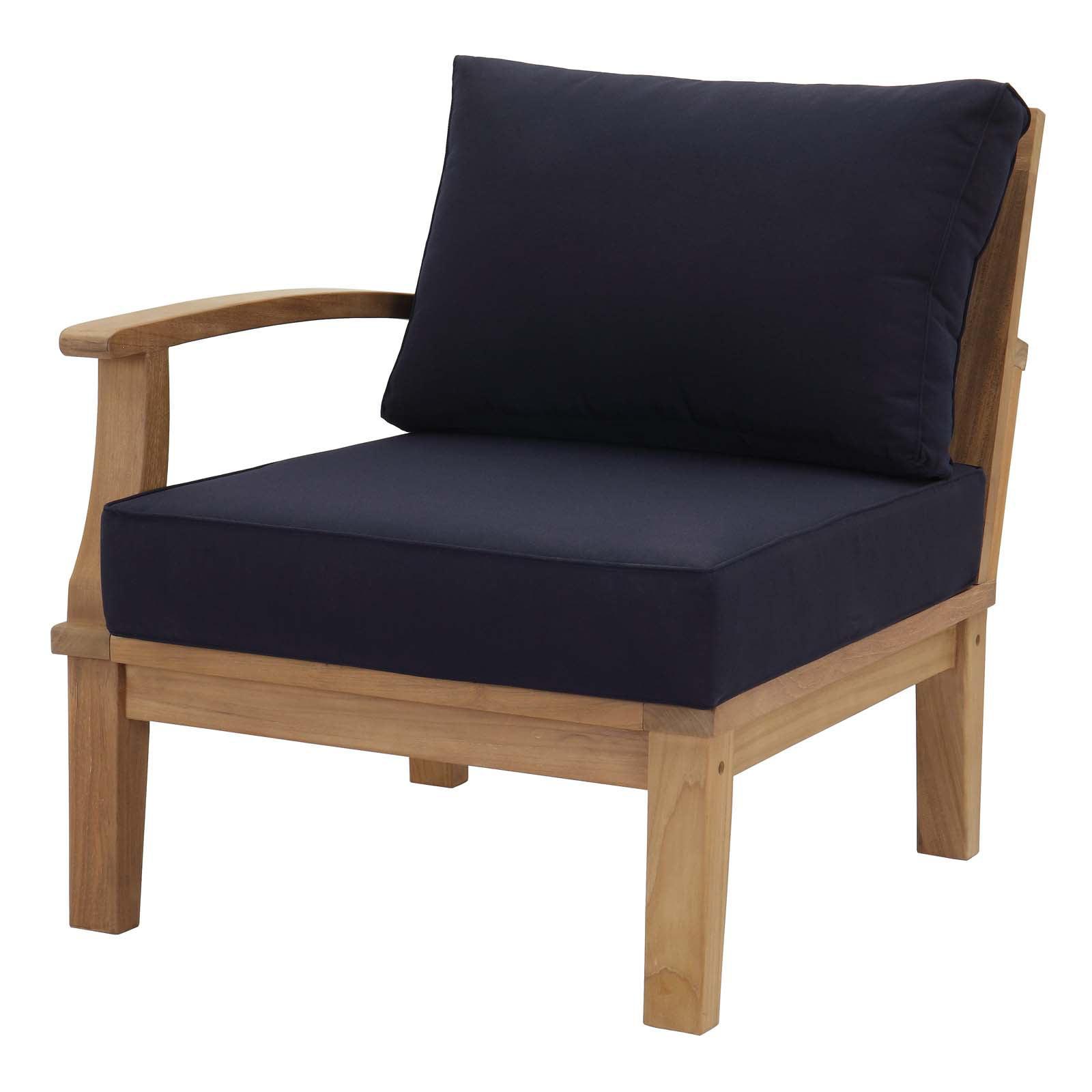 Modern Contemporary Urban Design Outdoor Patio Balcony Garden Furniture Sofa End Chair, Wood, Navy Blue