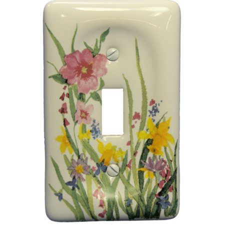 Leviton Wildflower Porcelain Light Switch Cover Toggle Wall Plate (Safari Switchplate)