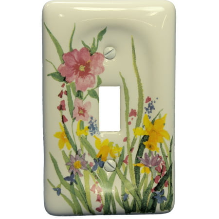 Light Switchplate Cover Unique Decor (Leviton Wildflower Porcelain Light Switch Cover Toggle Wall Plate 89501-WFL)