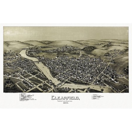 Historic Map Of Clearfield Pennsylvania 1895 Clearfield County Canvas Art     24 X 36