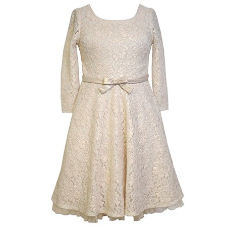 Big Girls Tween Gold Foil Lace 3/4 Sleeve Fit and Flare Dress, X4-TG16-HOL15, Bonnie Jean, Gold, (Mc Davi Part Costa Gold Sensual Girl)