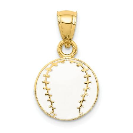 Solid 14k Yellow Gold Enameled Baseball Pendant (11mm x 20mm)