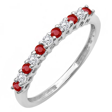 Ruby Gold Wedding Bands - 10K White Gold Round Ruby And White Diamond Anniversary Stackable Wedding Band