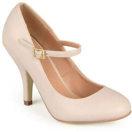 Brinley Co. Women's Mary Jane Matte Finish - White Heeled