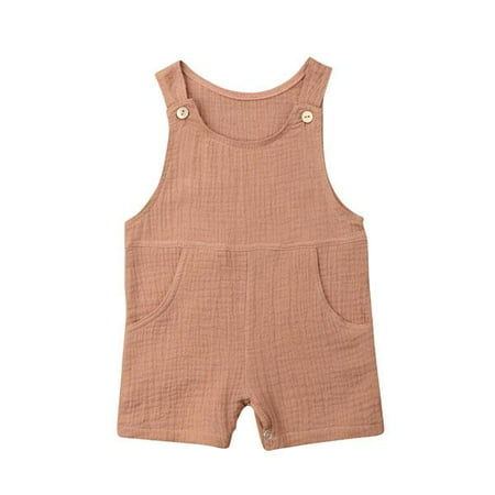Boys Sunsuit - Baby Boy Girl Solid Romper Sleeveless Pocket Cotton Overall Pants Sunsuit Summer Clothes
